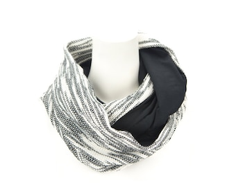 Black and Cream Tweed Infinity Scarf Tube