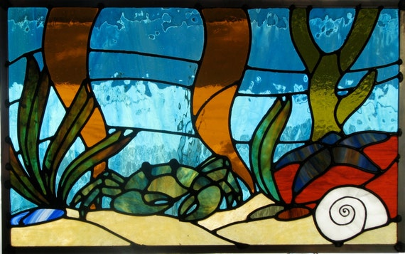 Under Sea Scene Stained Glass Pattern