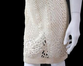 Vintage Crochet Knit Skirt// Open Crocheted Mini skirt// Beach Cover Cotton Skirt// White Ivory Skirt// Size XS// 130