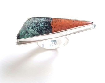 Sonora Sunrise Ring, Earthy Ring, Chrysocolla and Red Copper Cuprite