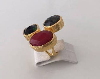 Triple Gold plated Jade and Smokey quartz ring