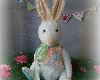 OOAK Handmade 8 inch viscose Teddy bunny  April