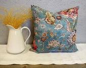Botanical Breeze Pillow Cover, Cotton, Toss Cushion, Teal Blue, Floral, 18x18