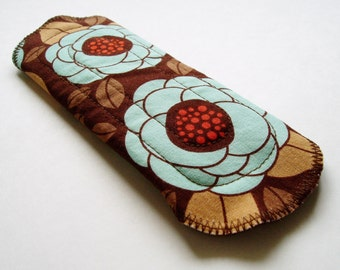 "7"" 18cm Cotton Panty Liner, Flower Floral Brown Blue Tan, Cloth Menstrual Pad Cloth Panty Liner Cup Backup Cloth Sanpro CSP Incontinence Pad"