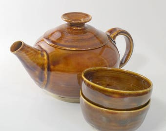 Amber Tea Set with Two Cups - Wheel Thrown & Altered Pottery - Pot holds 20 ounces and the cups hold 4 ounces each.