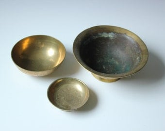 3 vintage Chinese solid brass shallow bowls - incised patterns of dragons, clouds and flowers
