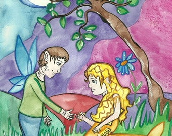 Wall Art For Kids Fairy & Mermaid Original Illustration Watercolor Painting Fantasy Art Fairy Tale Painting Mermaid Art Fairy Art For Kids