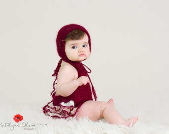 Sitter Romper with Ruffles, Baby Hat, Newborn Photo Props,  Choose Color Size