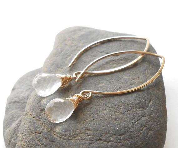 Quartz Crystal Earrings, Long Gold Drop Earrings, Gold Filled Dangle Briolette