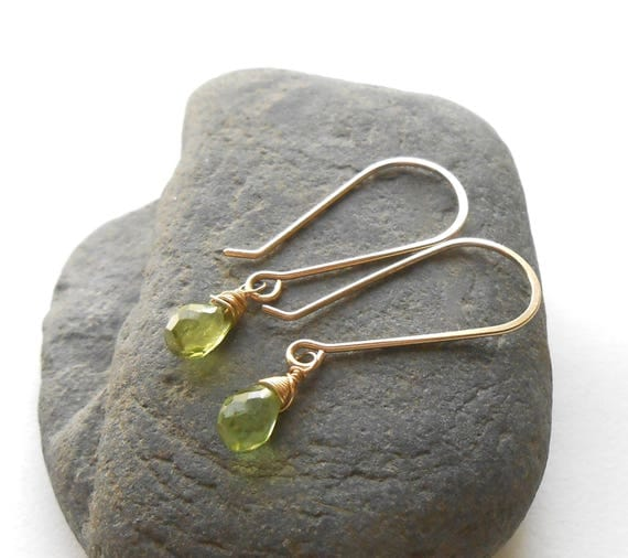 Peridot Earrings, Gold Drop Earrings, Small Gemstone Briolette Dangle Earrings, August Birthstone