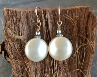 Coin Pearl Drop Earrings - Gold-filled Earwires