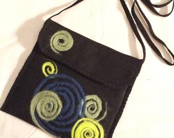 Felted Crossbody Bag, Needle Felted, Mini Bag, Shoulder Bag, Teen Bag, Cell Phone Bag, Handmade