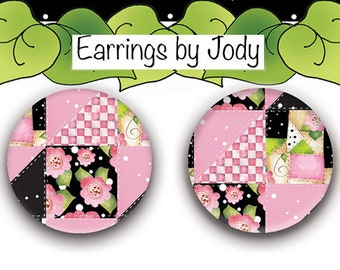 NEW Post Earrings - Pink & Black Patchwork