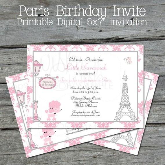 Paris birthday Invite - digital printable invitation - Ooh-la-la - Chic Poodle Paris Party - 5x7 printables