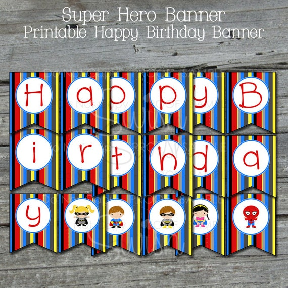 Super Hero Birthday Banner