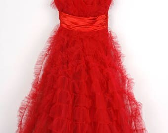Red Hot 1950's Tulle and Satin Party Dress
