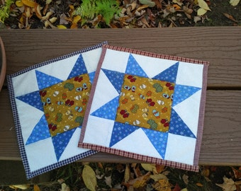 Set of 2 potholders in sawtooth star pattern