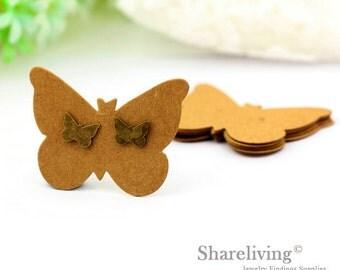 Kraft Paper Butterfly shape Earring Display Tags, Earring Display Cards, Earring Holder,  Packaging, Blank Design Tag - EDC001F