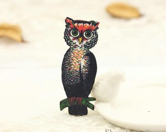 4pcs Wooden Vintage Owl Charm , Laser Cut Wood Retro owl Pendant, Perfect for Necklace Brooch - HW095A
