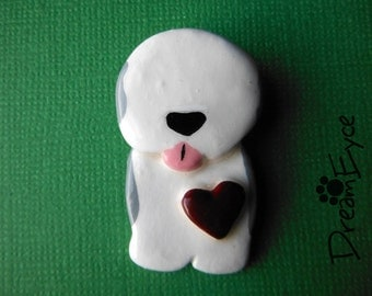 Old English Sheepdog Love Pendant. Artist Hand-made Dog Art Jewelry Necklace.
