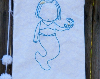 Patchwork Embroidery Sweet Mermaid   Embroidery  Banner Flag Decor