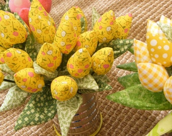 Yellow  Green Leaves Tulips  Bouquet  Decor Piece