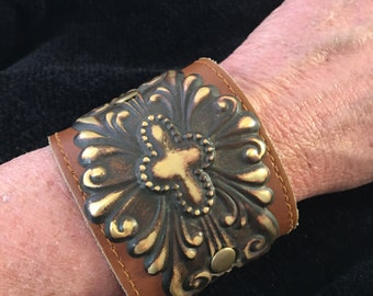 Repurosed Victorian Brass and Leather Cuff