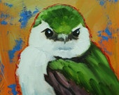 Bird painting 274 swallow 12x12 inch portrait original oil painting by Roz