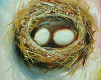Nest painting 308 12x12 inch original bird nest portrait oil painting by Roz
