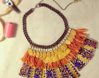 Embroidered Necklace with natural stones and Fringes -Folk Freak collection-