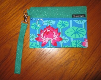Wrist Strap Zippered Pouch Lotus Blossoms Design Japanese Asian Fabric Blue