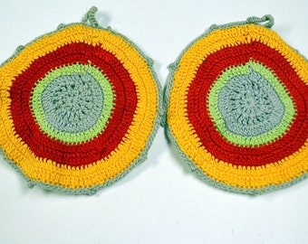Vintage Cottage Chic  Pot Holders Set of Two Handmade