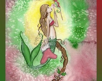 Candy Cane Mermaid and Seahorse print from Original Watercolor Painting by Camille Grimshaw