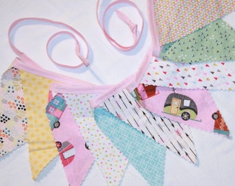 Pennant bunting fabric banner in VW Camper Buses pink aqua blue yellow green - 10 double sided flags total