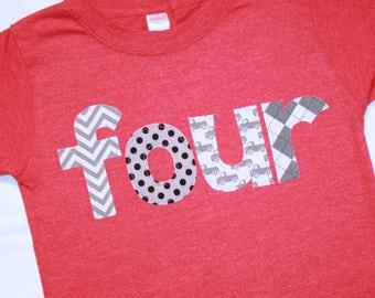 Boys lowercase FOUR shirt for 4th Birthday  - Size 4 short sleeve heather red - gray black cars trucks argle chevron dots