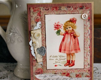 A Little Valentine  Collage Greeting Card