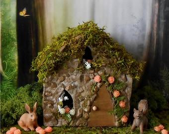 Rose Cottage Fairy House, Fairy GardenFREE SHIPPING, Miniature Garden House, Outdoor Fairy House, Stone Cottage Garden Decor, English Garden