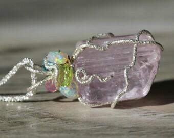 Kunzite Crystal Pendant - with precious stone bouquet