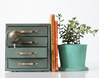 Vintage Green Drawers, Little Industrial Set of Drawers, Montgomery Ward