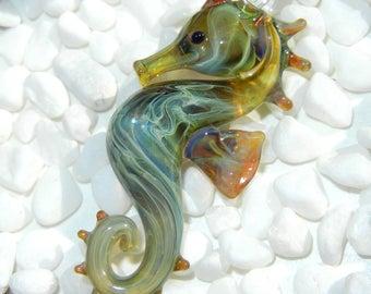 Lampwork Boro Glass Pendant - Focal Bead - SEAHORSE olive green seafoam