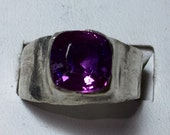 Purple sapphire silver ring saved for Luca