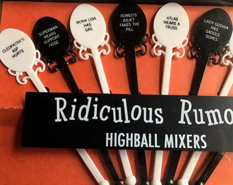 old never used Ridiculous rumours great bar gift new in box Highball mixers plastic swizzle sticks