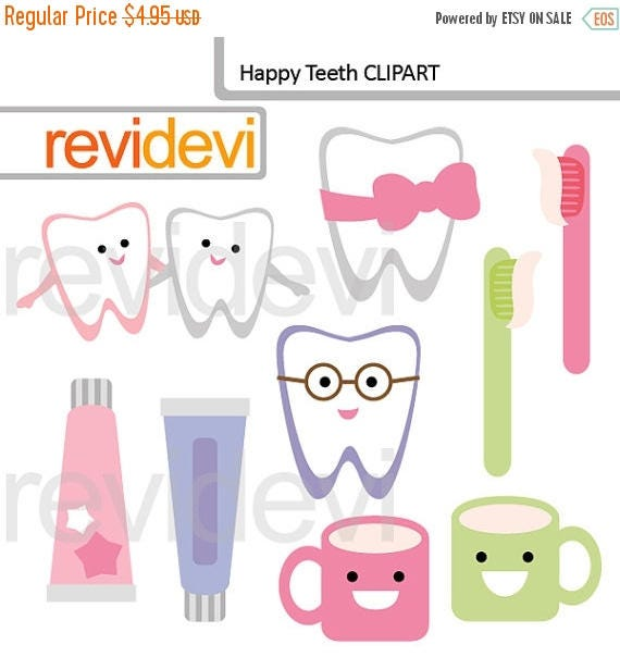 35% OFF SALE Cute tooth clipart Brush your teeth clipart
