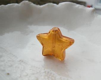Murano Light Topaz Star Bead