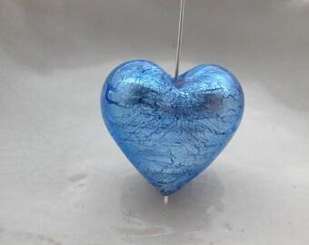 22mm Blue Murano Glass Heart Bead, Unusual Size