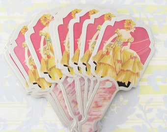 Vintage Romance...Fan Shape Bridge Tallies...Lovely Lady in Yellow with Pink Flowers