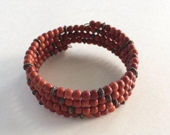 Rust Turquoise Magnesite bracelet memory wire - bronze accent beads