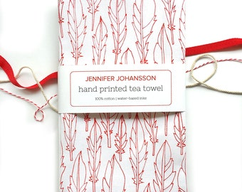 Feather Tea Towel - Screen Printed Tea Towel - Kitchen Towel - Flour Sack Towel - Bird Lover - Gifts Under 20 - Gifts for Mom - Gift Wrap