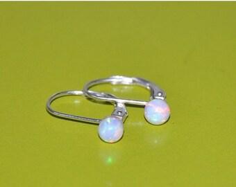 Custom order for Charlene -Opal Dangle Earrings, 4mm Opal Stones, Sterling Silver Leverback Earwires, Opal Jewelry, 925 Sterling Silver