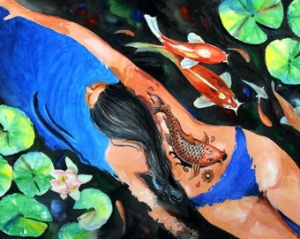 Koi Woman Tattoo swimmer Watercolor Painting goldfish lily pads 8.5 X 11 high quality Art Print by Fish artist Barry Singer